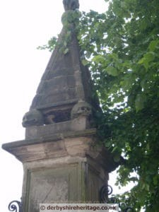 Ashbourne Church gatepost skulls